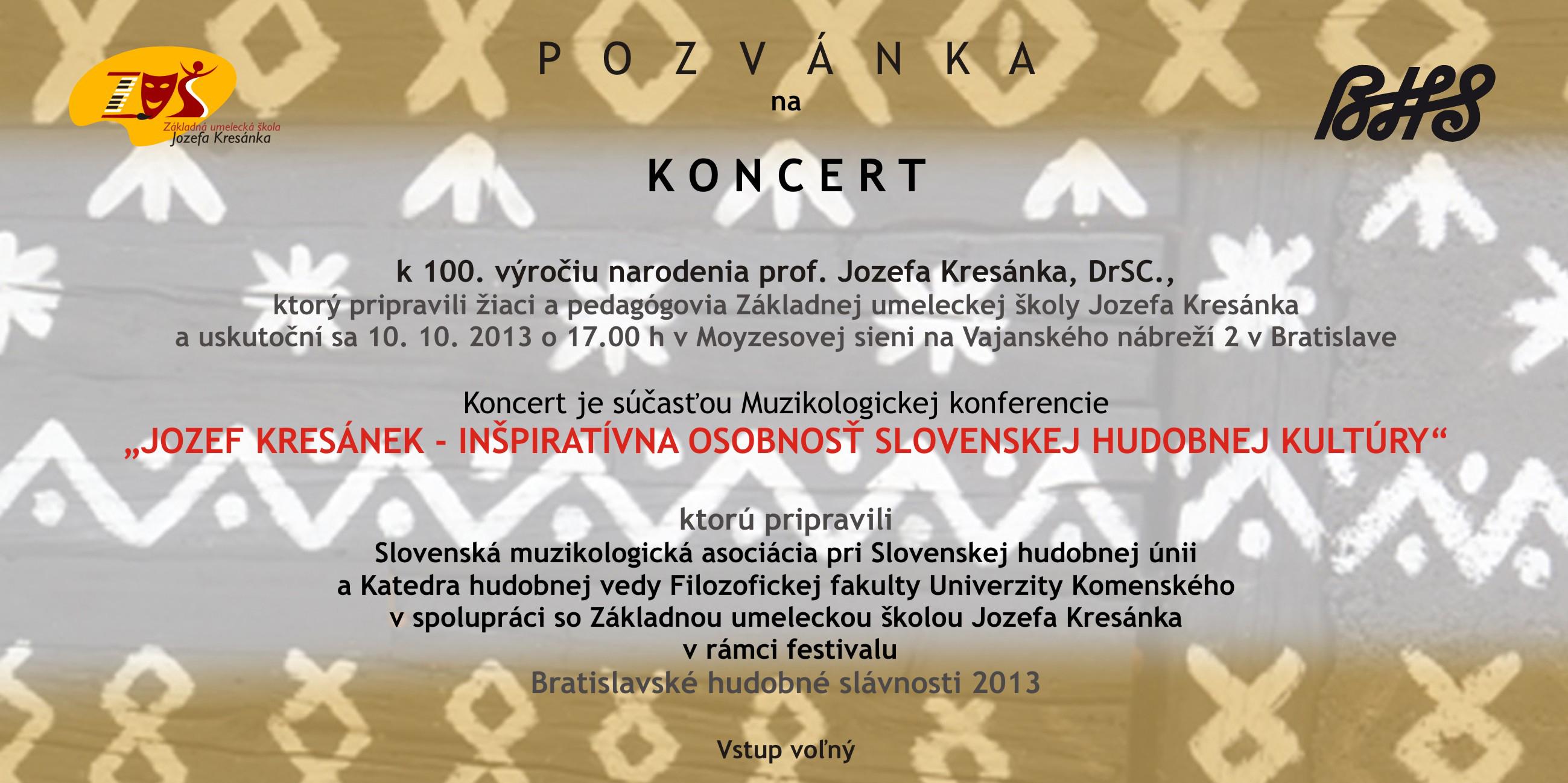 """Konferencia """"Jozef Kresánek – inšpiratívna osobnosť slovenskej hudobnej kultúry"""""""